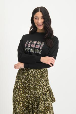 sweater Gwen met tekst zwart