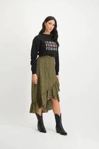 Lofty Manner sweater Gwen met tekst zwart, Zwart