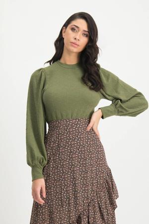 sweater Fenna met plooien groen
