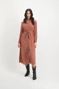 Lofty Manner blousejurk Sydney met all over print en ceintuur roze/ zwart