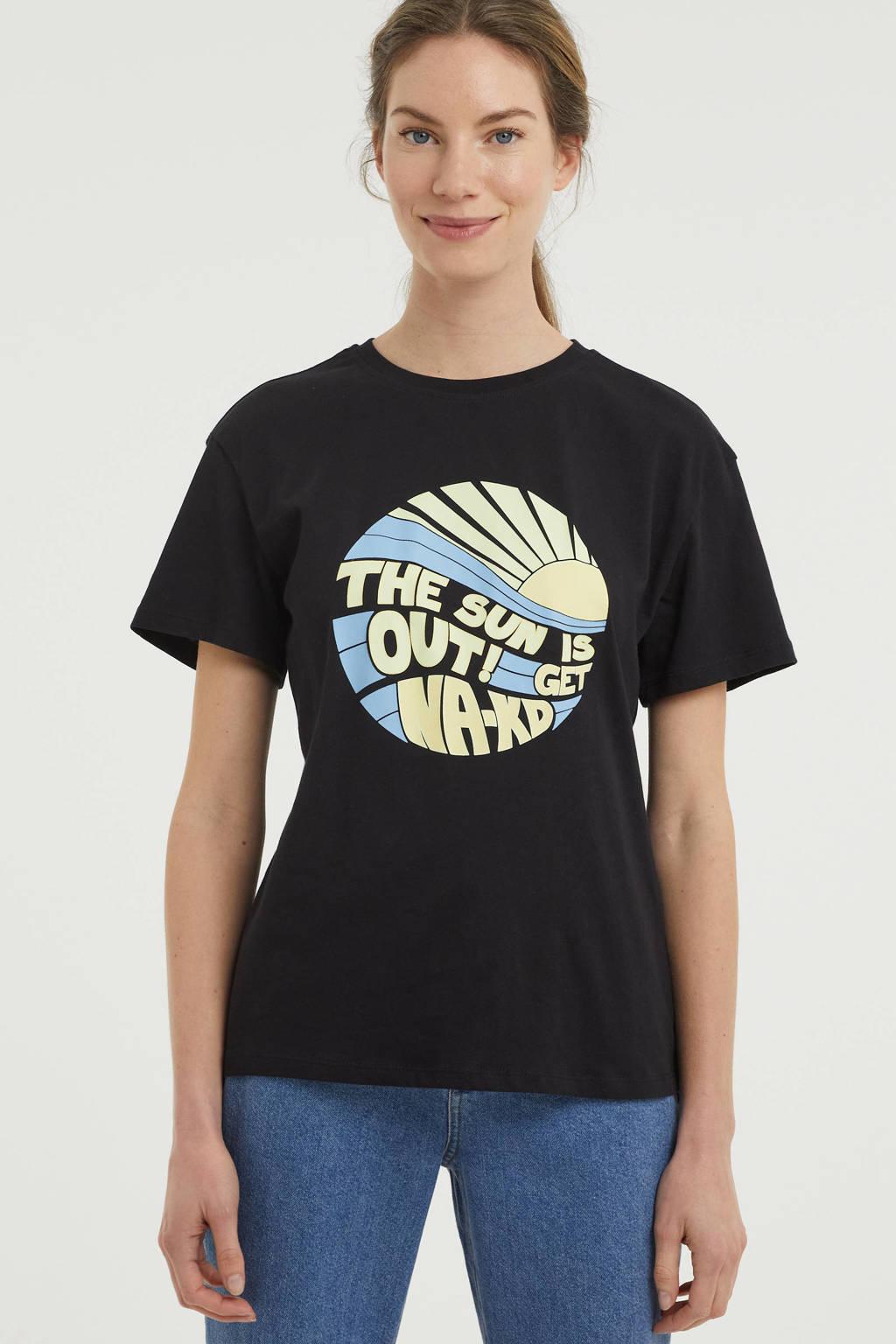 NA-KD T-shirt Sun Is Out met printopdruk zwart, Zwart