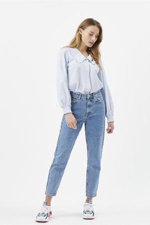 gestreepte blouse Safrina lichtblauw