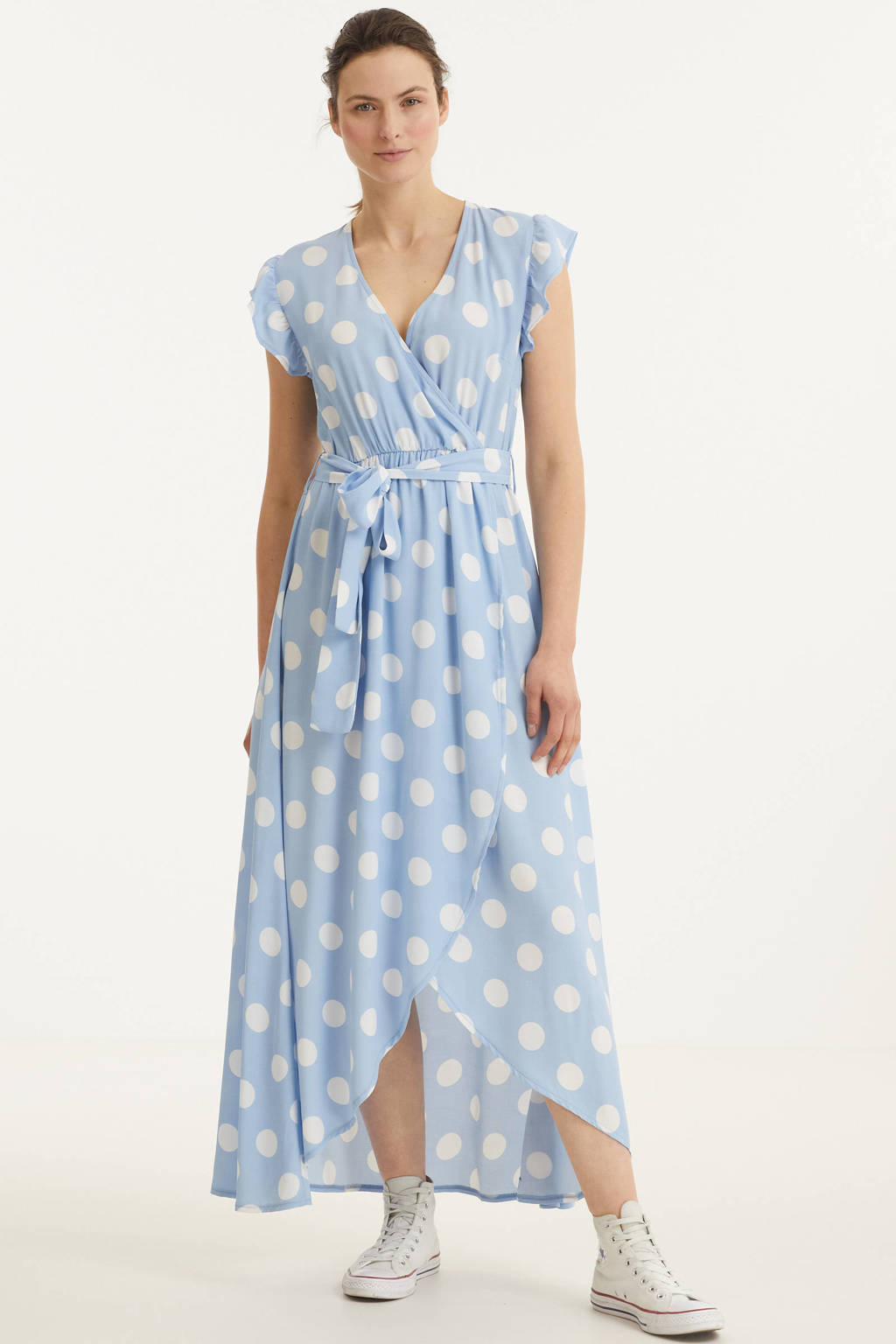 Colourful Rebel maxi jurk Elva met stippen en ruches blauw/ wit