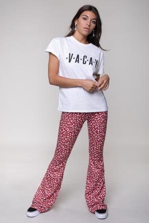 high waist flared legging Sia met panterprint rood/ wit
