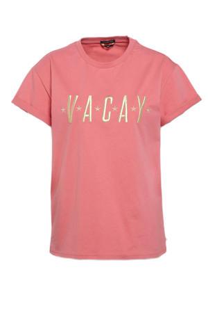 T-shirt Vacay van biologisch katoen oudroze