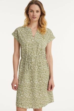 jurk IlimaPW met all over print en ceintuur groen/wit