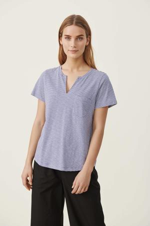 gestreept T-shirt GesinaPW blauw/wit