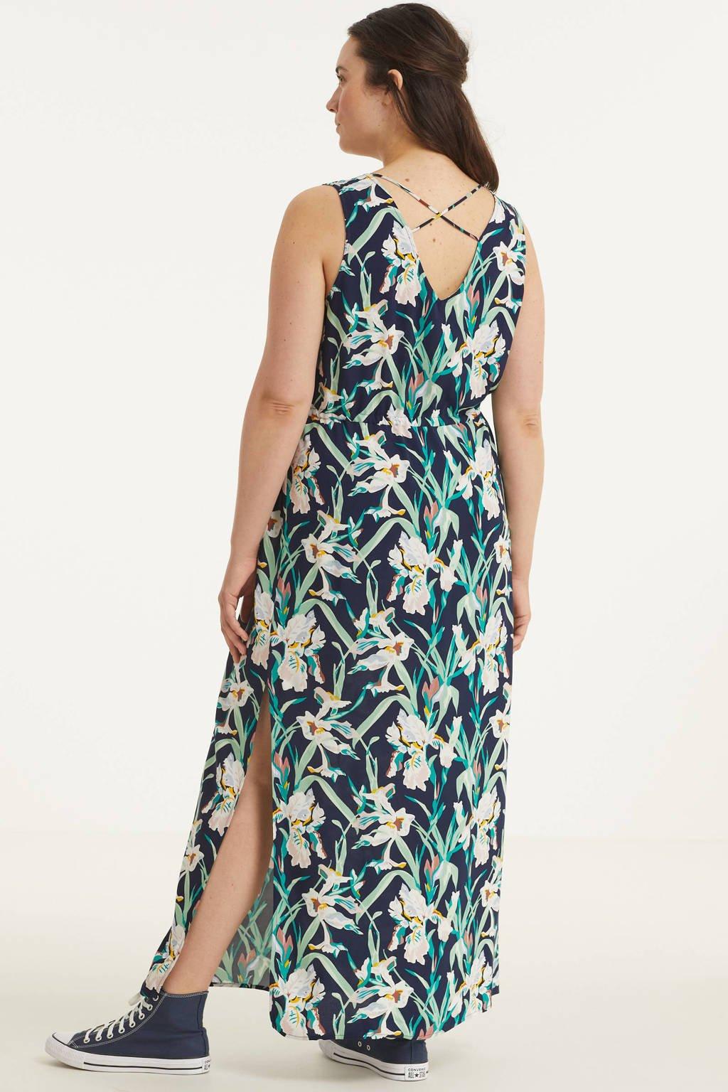 VERO MODA CURVE maxi jurk VMSIMPLYEASY met bladprint donkerblauw/groen/wit, Donkerblauw/groen/wit