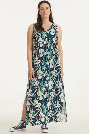 maxi jurk VMSIMPLYEASY met bladprint donkerblauw/groen/wit