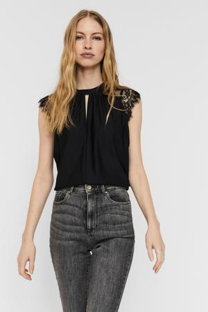 blouse met kant zwart