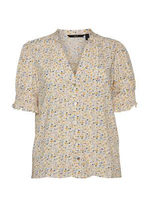 gebloemde blouse VMCILA lichtgeel/blauw/oranje