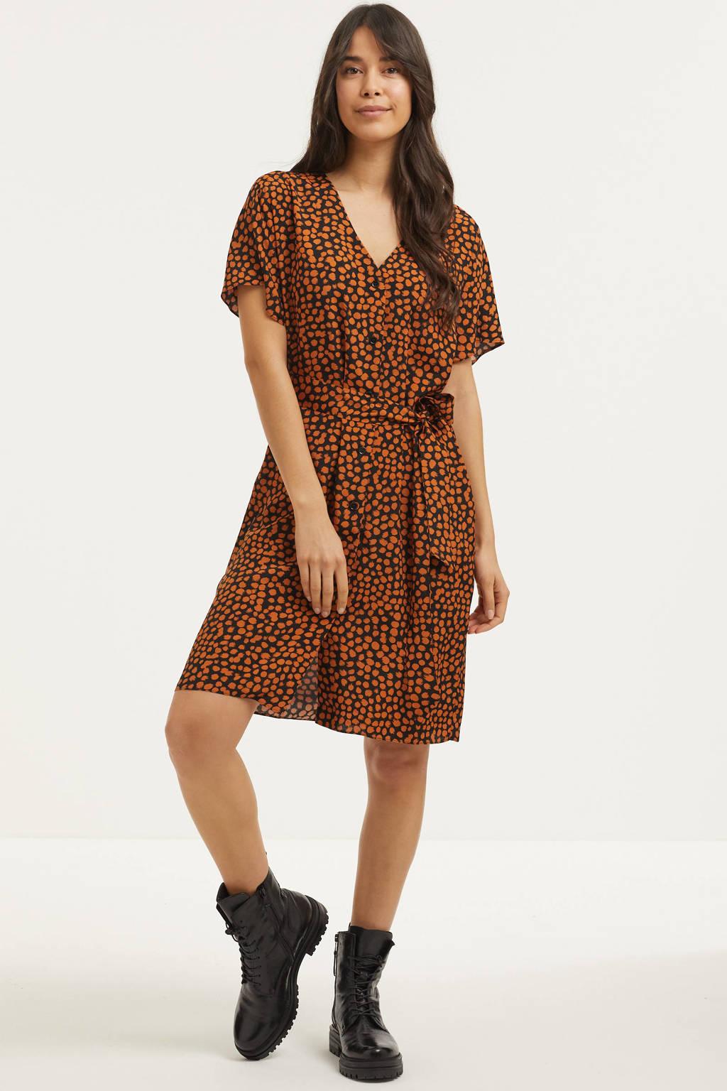 Catwalk Junkie blousejurk Caramel Spots met all over print en ceintuur lichtbruin, Lichtbruin