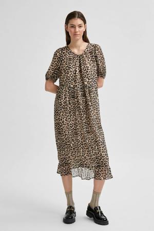 jurk met panterprint grijs