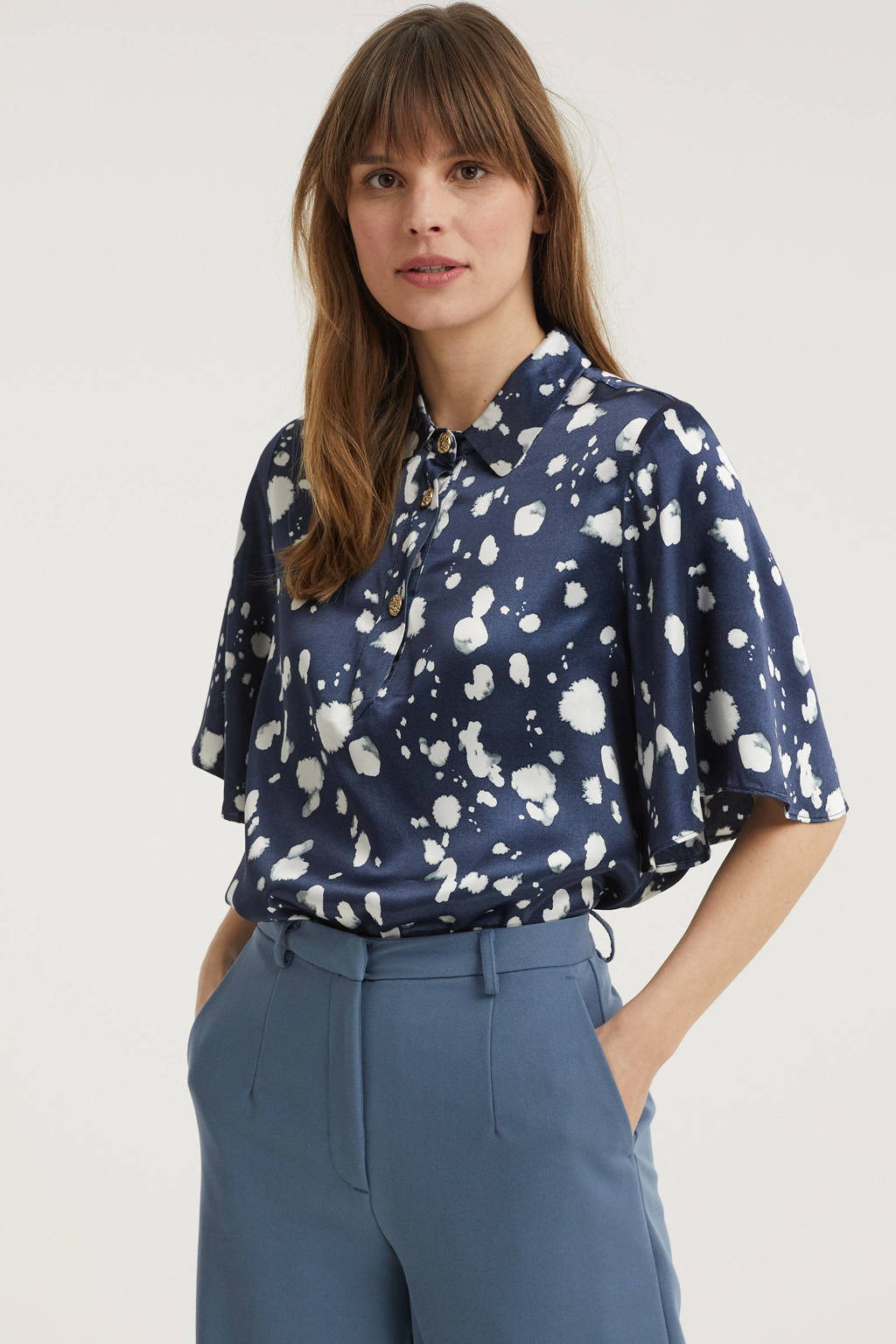SELECTED FEMME blouse met all over print donkerblauw, Donkerblauw