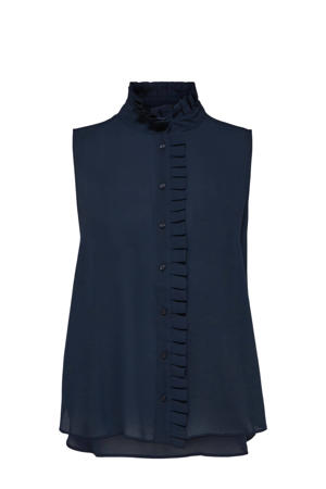 blouse met ruches donkerblauw