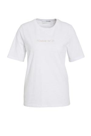 T-shirt SLFMINA  met tekst zwart/wit