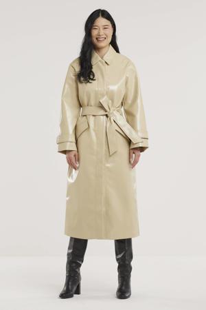 imitatieleren  coat Journi met ceintuur beige