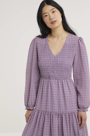 geruite jurk Karla van gerecycled polyester lila/rood