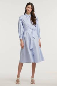 EDITED gestreepte blousejurk Bella van biologisch katoen lichtblauw, Lichtblauw
