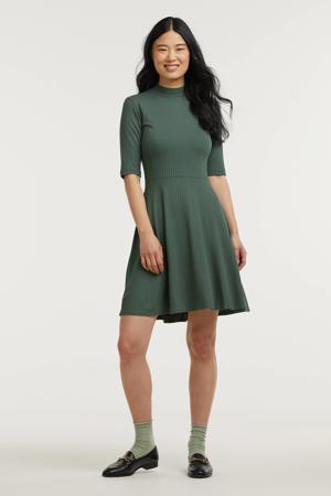 ribgebreide A-lijn jurk Eileen kaki