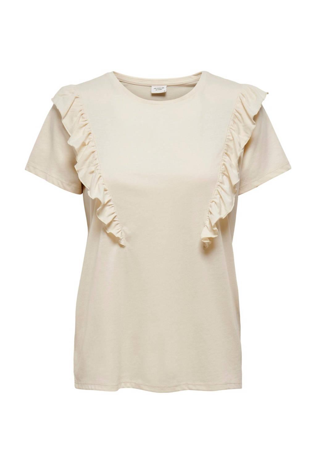 JACQUELINE DE YONG T-shirt met volant ecru, Ecru