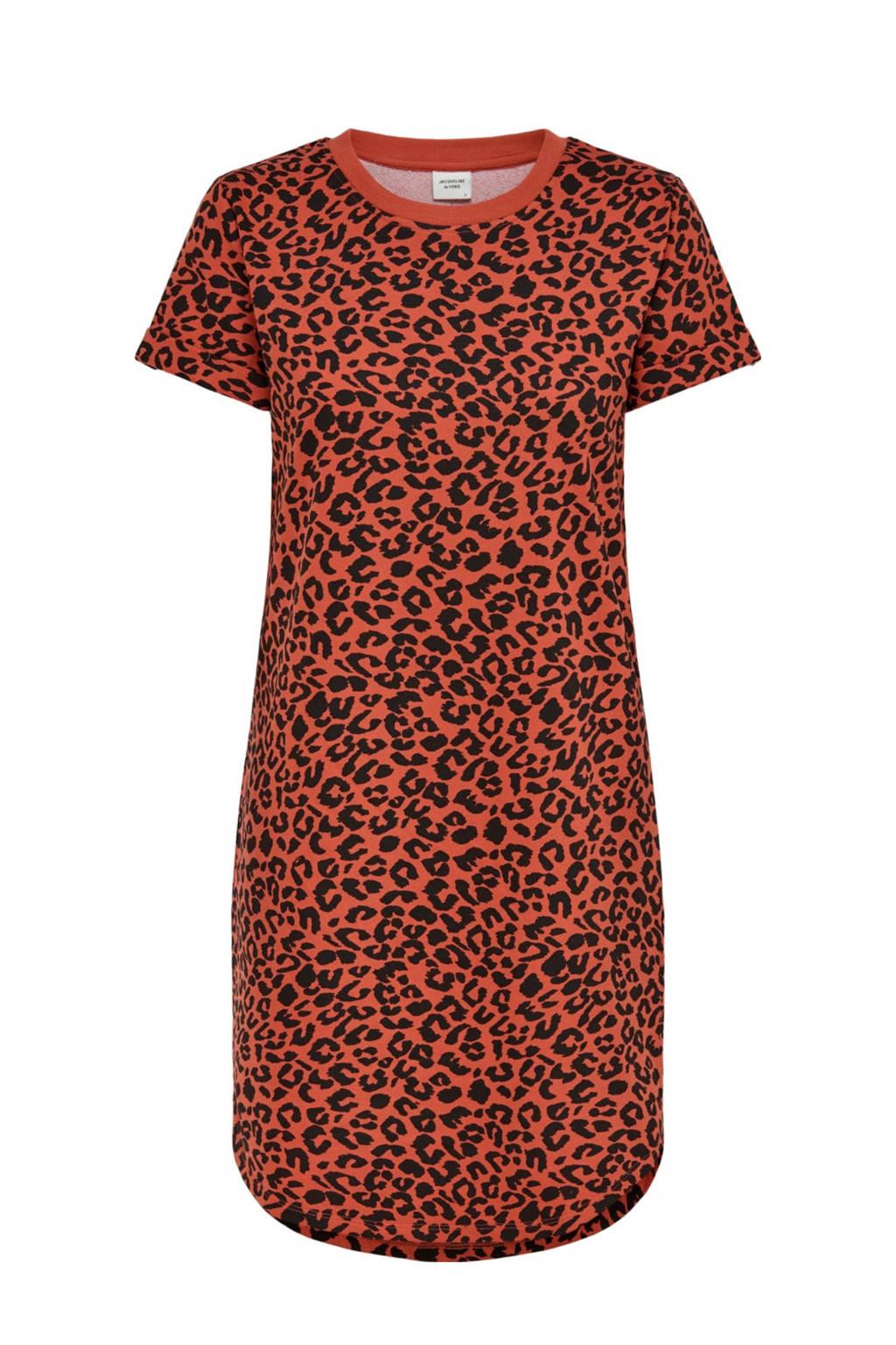 JACQUELINE DE YONG T-shirtjurk Ivy met panterprint roodoranje/zwart, Roodoranje/zwart