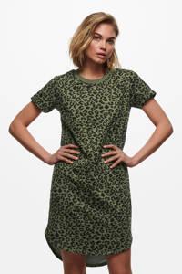 JACQUELINE DE YONG T-shirtjurk Ivy met panterprint groen/zwart, Groen/zwart