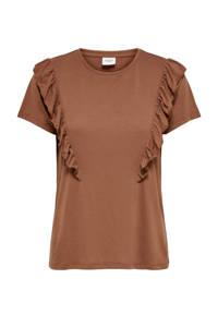 JACQUELINE DE YONG T-shirt met volant bruin, Bruin