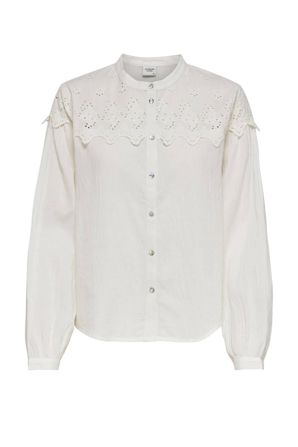 JACQUELINE DE YONG blouse met kant wit, Wit