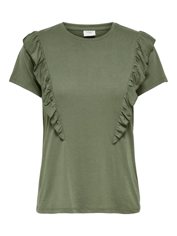JACQUELINE DE YONG T-shirt met volant groen, Groen