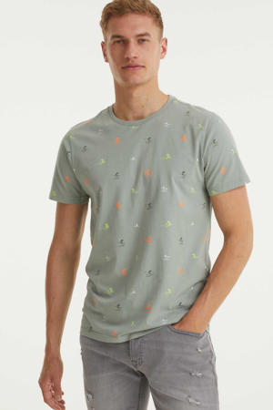 T-shirt met all over print hedge green