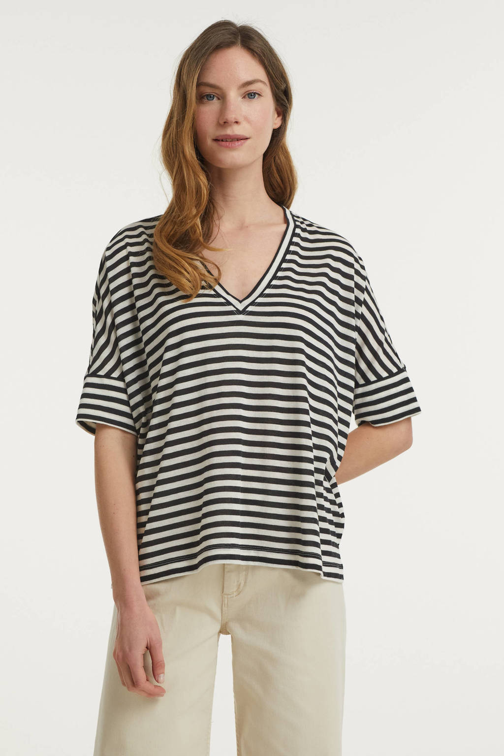 Inwear gestreept T-shirt Ursula wit/zwart, Wit/zwart