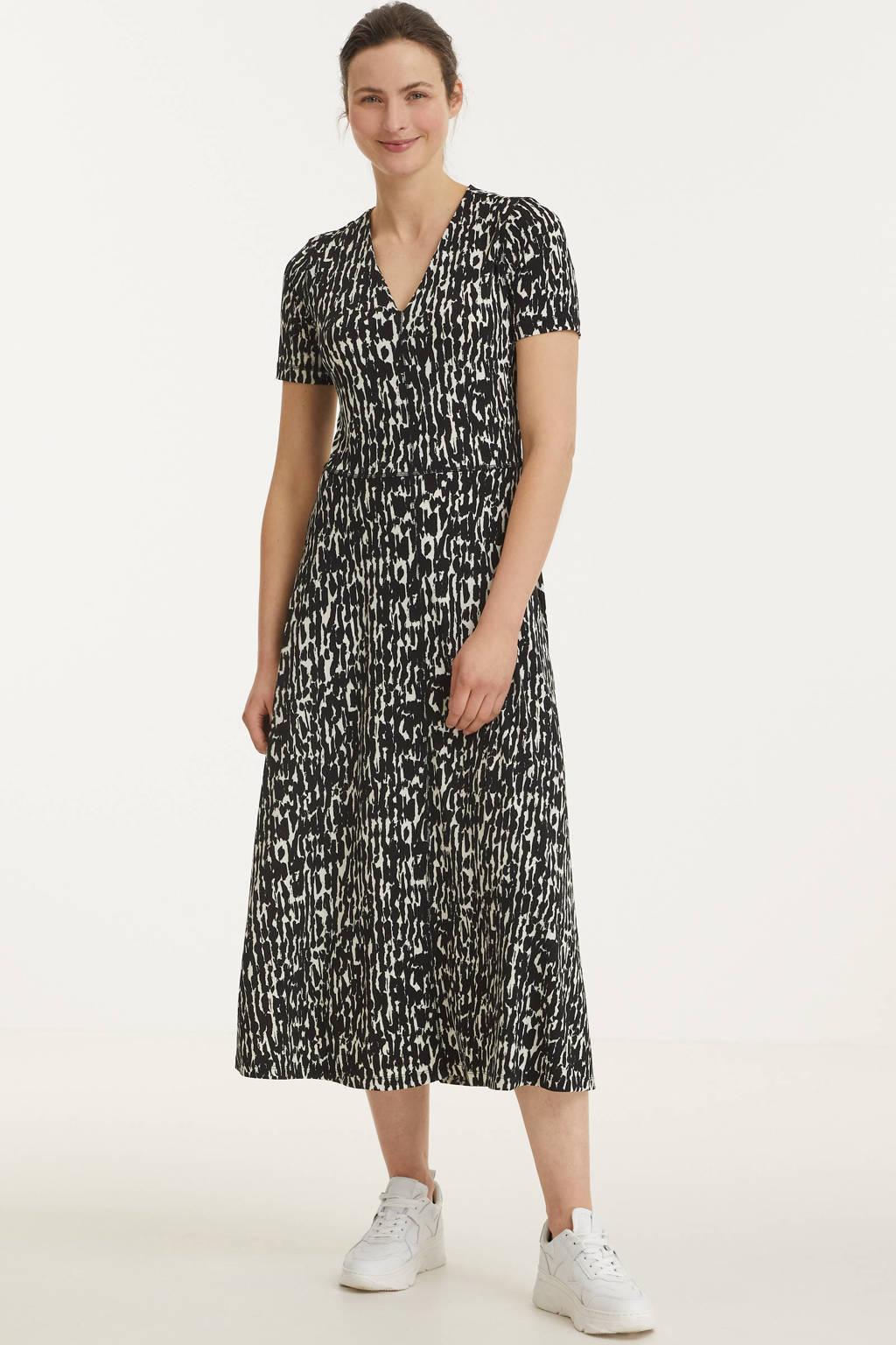 Inwear jurk Elvin van gerecycled polyester zwart/wit, Zwart/wit