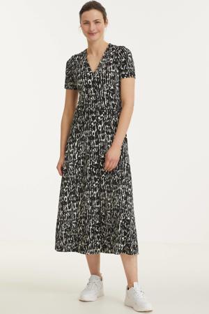 jurk Elvin van gerecycled polyester zwart/wit