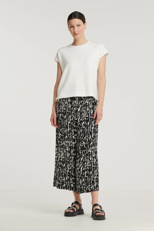 loose fit broek Quiana met all over print zwart