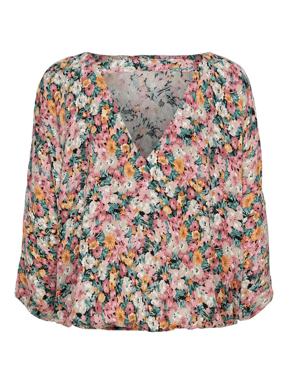 JACQUELINE DE YONG gebloemde geweven top roze/groen, Roze/groen