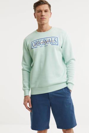 sweater Faster met logo lichtblauw