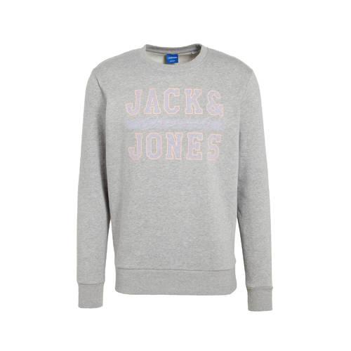 JACK & JONES ORIGINALS sweater Faster met logo grijs