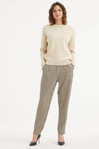 Peppercorn geruite high waist tapered fit broek Polly Savannah beige, Beige