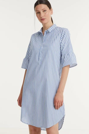 gestreepte jurk Ramis blauw/wit