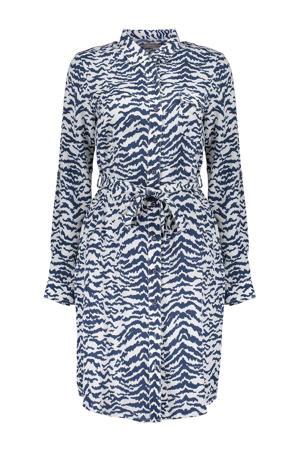 blousejurk met all over print en ceintuur donkerblauw/ecru