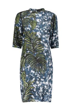 jurk met bladprint en open detail blauw/groen/wit