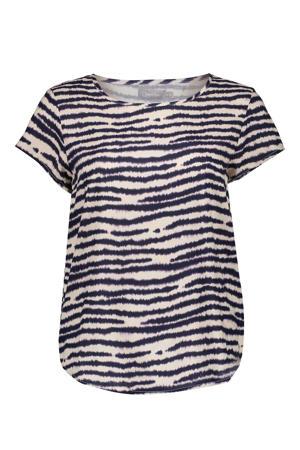 top met zebraprint zand/donkerblauw