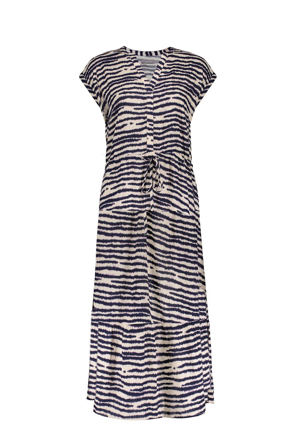 Geisha maxi jurk met zebraprint en volant zand/donkerblauw