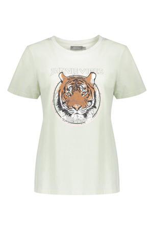 T-shirt met printopdruk mintgroen
