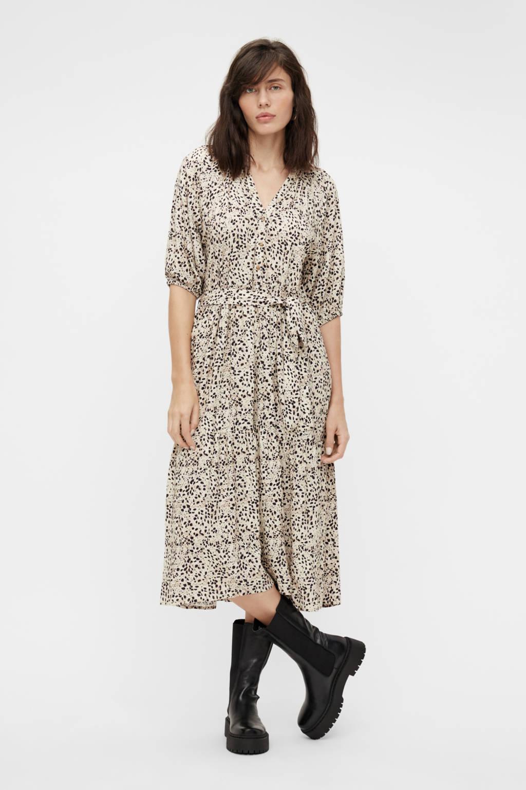 OBJECT jurk OBJHESSA met all over print en ceintuur ecru/zwart, Ecru/zwart