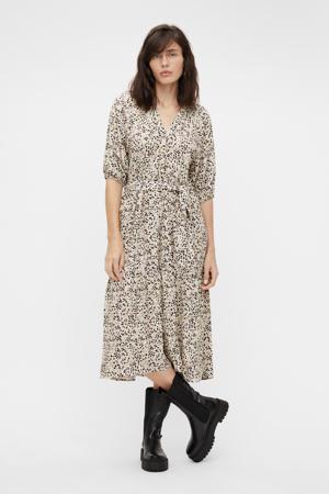 jurk OBJHESSA met all over print en ceintuur ecru/zwart