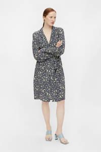OBJECT jurk OBJFIONA met all over print en ceintuur blauw, Blauw
