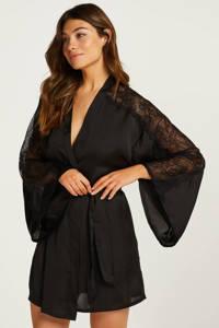 Hunkemöller satijnlook kimono zwart, Zwart