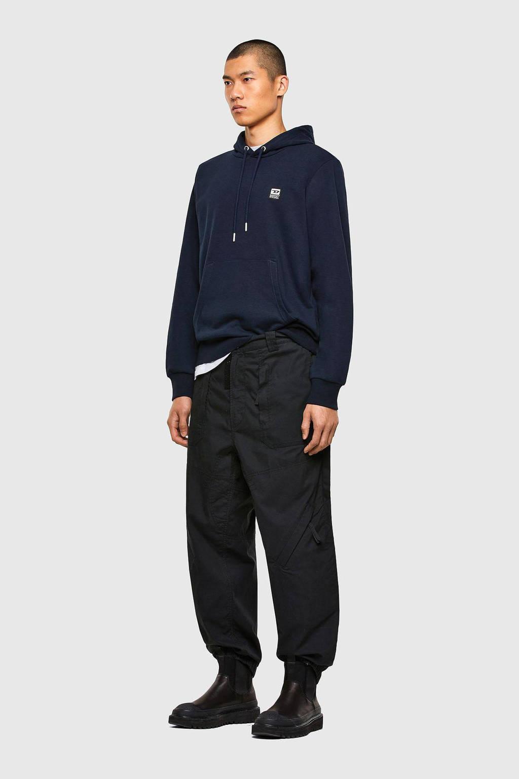 Diesel hoodie met logo donkerblauw, Donkerblauw